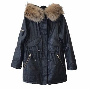 Sam Black Fur Trim Parka Jacket